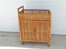Vintage Bohemian Wicker Bar Cart On Wheels