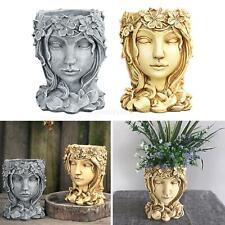 Resin Goddess Face Head Statue Cactus Planter Flower Succulent Pot Vase