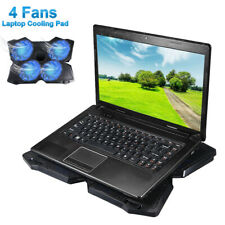 Game LED 4-Fan Blue Advanced Laptop Notebook Cooler Cooling Pad Stand Dual USB