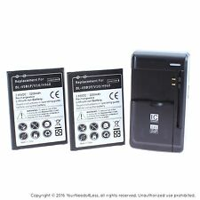 2 Replacement Batteries for LG V10 H900 H901 VS990 plus charger