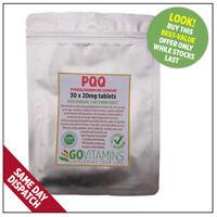 20mg PQQ Pyrroloquinoline Quinone TABLETS or 10mg VEG CAPS - MITOCHONDRIAL BOOST