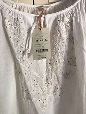 NEW!! Monsoon Embroidered Thin Soft Cotton White Top Blouse Size 18 BNWT
