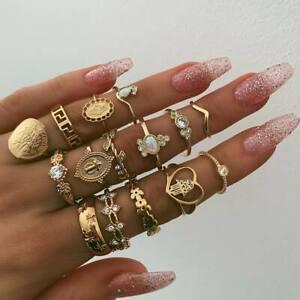15 teiliges Ring Set Ringe Bohemian Indi Modeschmuck Glitzer Herz Love Schmuck