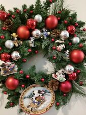 """Christmas Holiday Wreath  18"""" Decoration 8 Moo Moo Cow Figurines Silver Red Ball"""