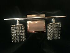 "Modern Wall Light Chrome Crystal 1515"" Vanity Fixture for Bathroom Over Mirror"