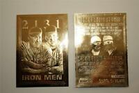 Cal RIPKEN & Lou GEHRIG 1995 Iron Men 23KT Gold Card Sculptured #/30,000 NM-MT