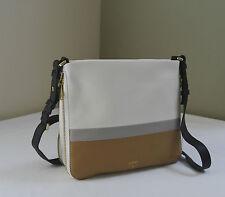 Fossil Ladies Preston Neutral Multi Colorblock Leather Crossbody Bag Zb6482994