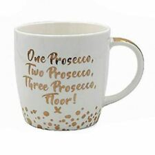 Leonardo Prosecco China Mug Gold Words Bubbles White