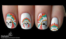 Native Indian American Skull Nail Art sticker Water Transfer decal 101