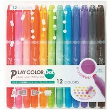 Tombow PLAYCOLOR Dot Marker Pen 12 Color Set GCE-011 from Japan*
