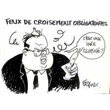 Franx (Michel Vranckx, dit) - Dessin de presse original.