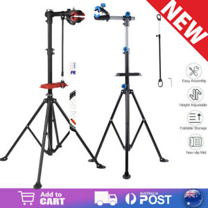 Bike Repair Stand Work Rack With Tool Tray For Home Mechanic Bicycle Maintenance