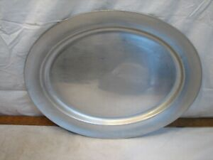 """Lg Oval Vintage Wilton Armetale RWP Pewter Serving Platter Plate Tray 19"""" Meat"""