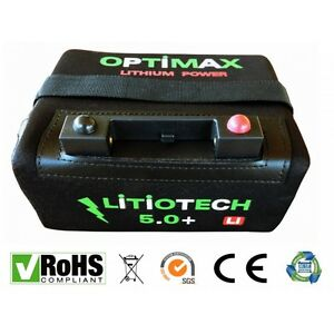 Batería Litio Optimax para carro de golf 12v 20amp con cargador  y cable T-Bar
