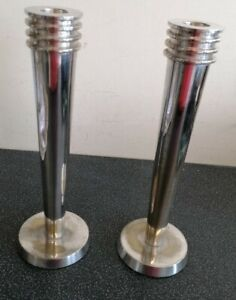 Pair of heavy retro silver plated candlesticks - almost 10 inches tall