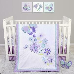 4 Pcs Crib Bedding Set Butterfly Meadow Quilt Skirt Fitted Crib Sheet Plush Toy
