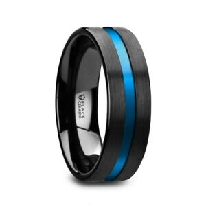 Westley Flat Brushed Finish Black Ceramic Wedding Ring Blue Grooved Center
