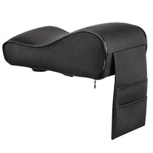 PU Car Memory Cotton Armrest Cushion Center Console Box Pad w/Storage Bag Black