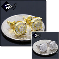 MEN 925 STERLING SILVER 7MM GOLD/SILVER ICED OUT BLING ROUND STUD EARRING*E155