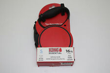KONG Essential Tape Retractable Dog Leash Small 16ft for Dogs Up To 45lbs Red