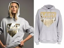 UK 16 New Grey w.Gold Foil Printed Logo Soft Hoodie by Lady Garden at Topshop