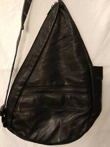 Vtg AMERIBAG Black Leather Large  Sling Bag Purse Healthy Back Travel Pockets