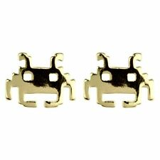 Joe Cool Branded Retro Gamers Space Invaders Alien Stud Earrings - Gold