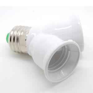 Twin E27 Adaptor 1 to 2 Lamp Holder Bulb Socket Convertor Lighting Extension