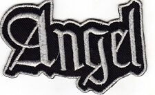 """ANGEL"" - BLACK w/SILVER - Iron On Embroidered Patch /Saying - Words - Religious"