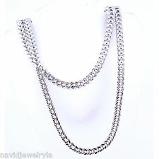 """Franco Gold Chain Necklace 5mm White Gold 14k Solid 34"""" long"""