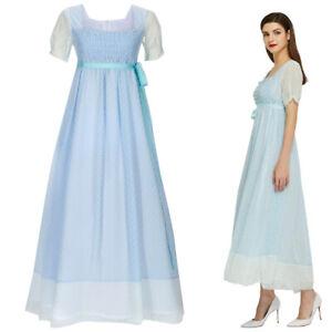 Women Victorian Dress Hamilton Elizabeth Schuyler Kid Retro Gown Cosplay Costume