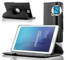 Piel Negro Caso Giratorio Samsung Galaxy Tab Dell 9.6 Protector De Pantalla
