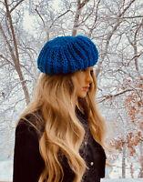 Blue Handknitted Beret Winter Beanie Cap One Size Warm Hat. Valentine's Day Gift