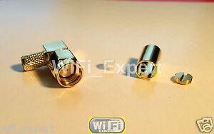 10 Pack RP-SMA Male plug right angle crimp RG58 RG142 RG400 LMR195 Coax Cable US