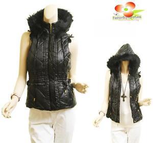 BK Outerwear Quilt Faux Fur Ruffle Trim Puffy Puffer Ski Hoodie Jacket Vest Coat