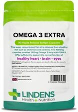 Omega 3 Extra 1000mg Capsules EPA/DHA 55% (90 pack) Brain, Eyes [Lindens 4340]