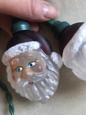 New listing Vintage Old World Christmas Glass String Light Bulb Covers Santa's Heads