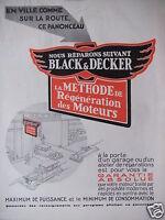 PUBLICITÉ 1930 NOUS RÉPARONS SUIVANT BLACK & DECKER - ADVERTISING