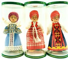 "Russian Souvenir Dolls Lot Of 3 Olga Vintage Hand Made Dolls 4"" Tall Mini Dolls"