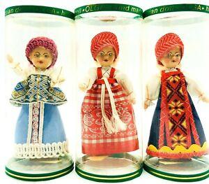 "Russian Souvenir Olga Dolls 4"" Dolls Vintage Hand Made Lot Of 3 Mini Dolls NOS"