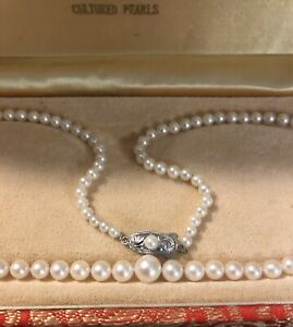 "strand Vintage cultured pearls Sakata tokyo best quality Silver 18"" Mint Shape !"