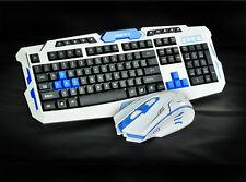 UK CityForm Wireless Ergonomic Usb Gaming Keyboard + 2.4GHz 6 Buttons Mouse Set