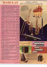 1970 PAPER AD Barclay Trombone Cornet Trumpet Clarinet Bugle Clavietta