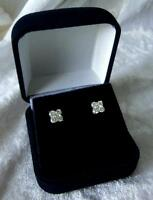 18ct White Gold 4 Diamond Earrings .80ct TDW - GENUINE NATURAL DIAMONDS