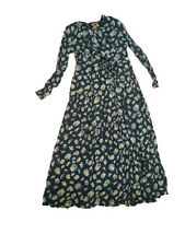 New OILILY WOMENS PRINT LONG BLUE Dress Size X-SMALL LONG SLEEVE