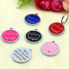 Round Custom Dog Cat Tags Engraved Pet Puppy Kitten ID Name Collar Tags&Bell S L