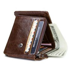 Men's Trifold Zipper Wallet Male Genuine Leather Coin Pocket Credit Card Holders