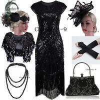 1920s Flapper Dress Gatsby Long Prom Dress Plus Size Black Vintage Evening Gowns
