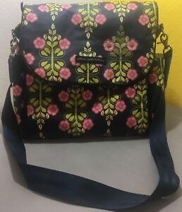Petunia Pickle Bottom Navy, Pink + Green Diaper Bag BBGL-00-146 - Used