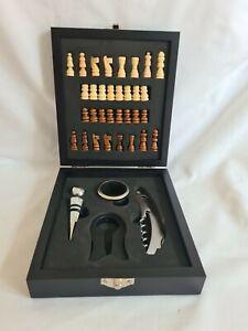 Bar Craft Luxury Travel Wine Bottle Opener Set and Chess Set